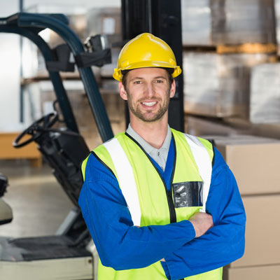 Man wearing a hard hat in his workplace